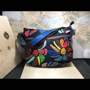 Handbags - Denim Multi Color Leather Crossbody